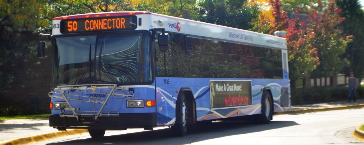 Bus in Fall - Allendale Campus